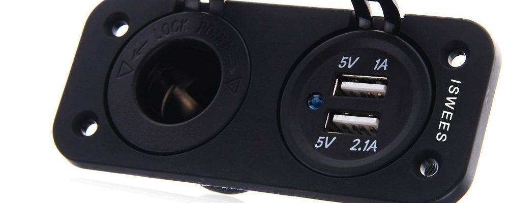 ISWEES Universal Adaptador Enchufe 12V-24V Mechero coche