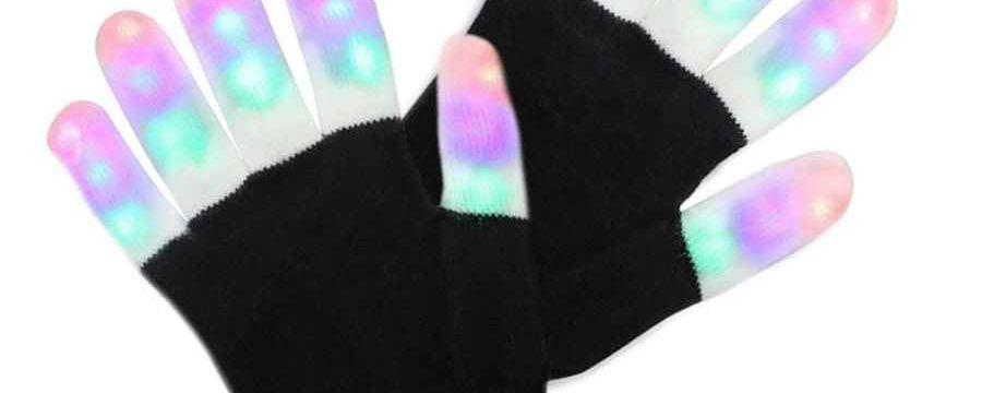Guantes LED con dedos iluminados
