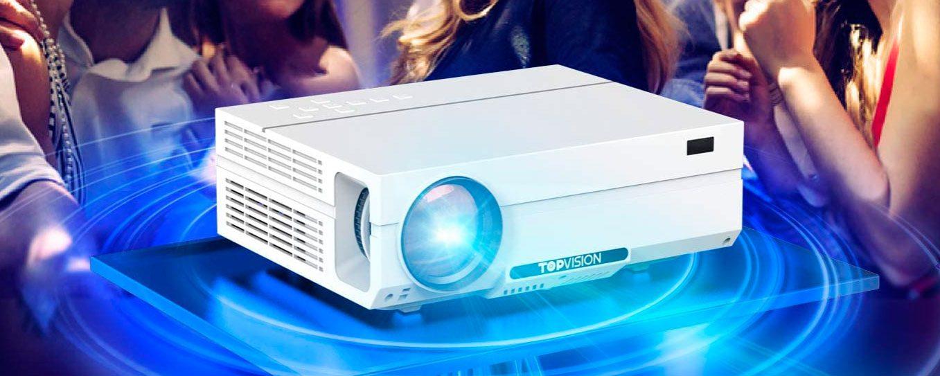 Proyector Cine en Casa TOPVISION 6500 Lúmenes, Proyector LCD Full HD Nativo 1080P, Soporte 4K 240″